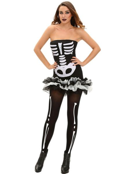 Black White Strapless Skeleton Printed Lace Hem Halloween Costumes Tutu Mini Dress