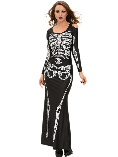 Black White Cold Shoulder Long Sleeves Halloween Adult Women Skeleton Costume Gown