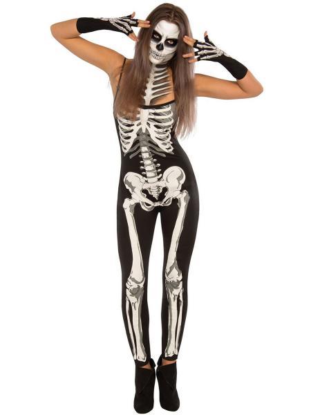 Black Gray Narrow Straps Sleeveless Halloween Skeleton Printing Costume Jumpsuit