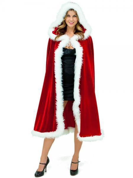 Red White Oversized Deluxe Velvet Fluff Hooded Cape Cloak Costumes for Christmas