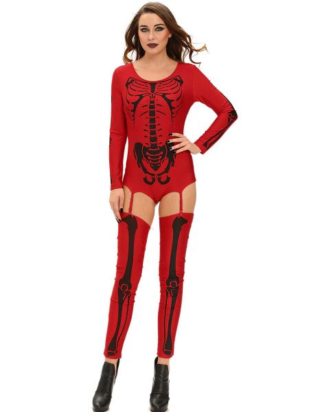 Red Black 3 PCS Long Sleeves Bad To The Bone Halloween Skeleton Costumes for Women