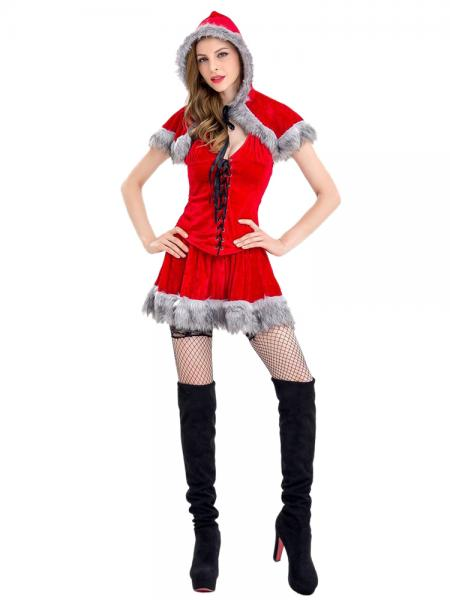Red Black Gray 3 Pieces Sleeveless Red Riding Hood Fuzzy Womens Christmas Costumes