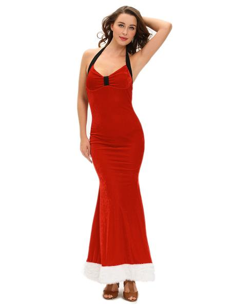 Red Sleeveless Halter Backless Sexy Christmas Maxi Dresses for Women