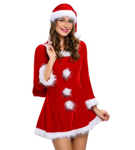Red White 3 Pieces Long Sleeves Sleigh Belle Women Santa Helper Costume Dress