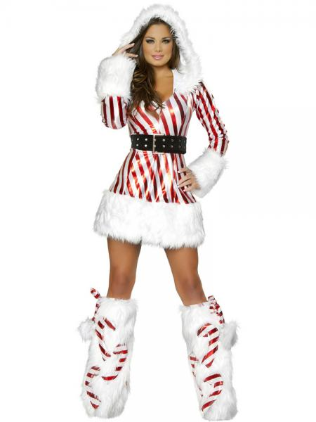 Red White 2 Pieces Long Sleeves Hooded Christmas Fancy Dress Outfits for Women