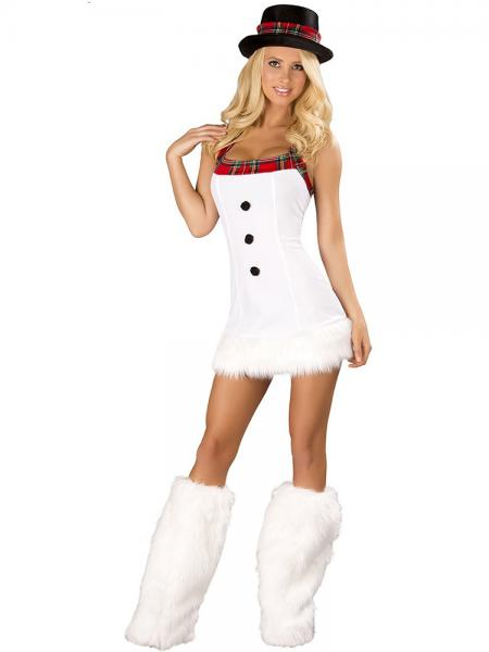 White 3 Pieces Sleeveless Halter Santa Snowman Christmas Costumes for Women