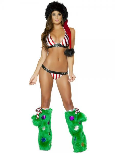 Black Red Green 4 Pieces Halter-neck Sleeveless Colorful Sexy Miss Christmas Fancy Dress