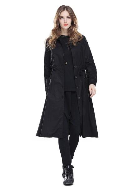 Black Single Breasted Long Sleeves Women Trench Coats with Drawstring & Pockets