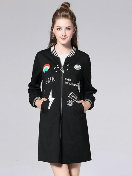 Black White Casual Zipper Closure Long Sleeves Applique Stretchy Coat for Women