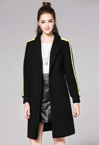2522c1926dcaf ... Black Yellow Single Button Striped Long Sleeve Rib-knit Cuffs Womens Long  Wool Coat