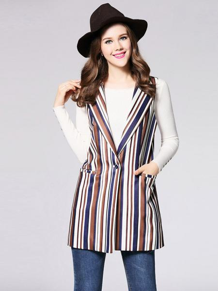 Brown Blue White Single Button Closure Striped Sleeveless Fashion Waistcoat for Women