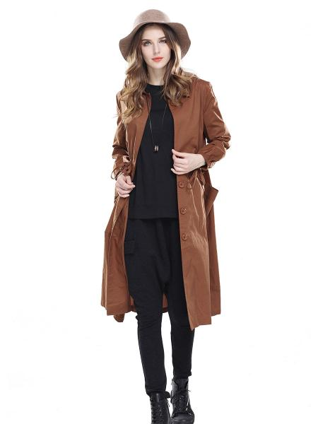 Brown Single Breasted Long Sleeves Women Trench Coats with Drawstring & Pockets