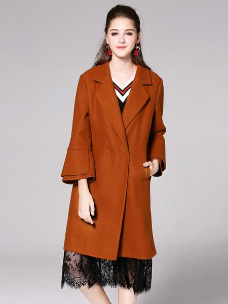 Caramel Single Button Layered Long Flare Sleeves Thick Womens Long Wool Coats