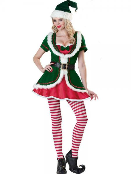 Green Red White 3 Pieces Layered Short Sleeves A-line Hemline Christmas Elf Clothes