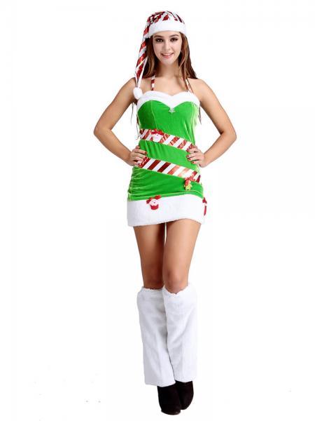 Green White 3 Pieces Halter Neckline Ladies Santa Claus Christmas Trees Outfit