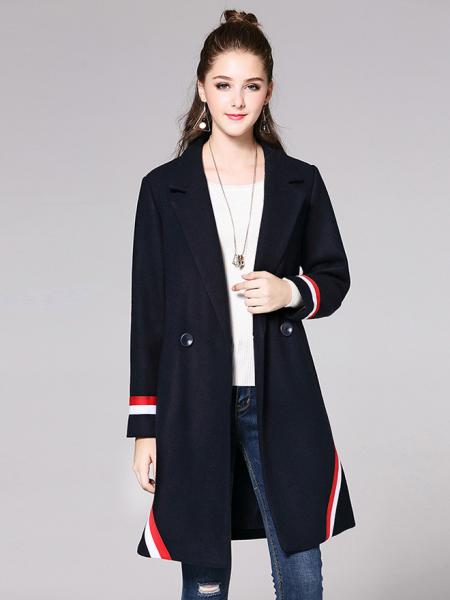 086eff276489 ... Navy Red White Two Buttons Double Breasted Long Sleeve Womens Striped  Long Wool Coats