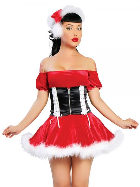 Red Black White 2 Pieces Short Sleeves Off the Shoulder A-line Christmas Santa Dress
