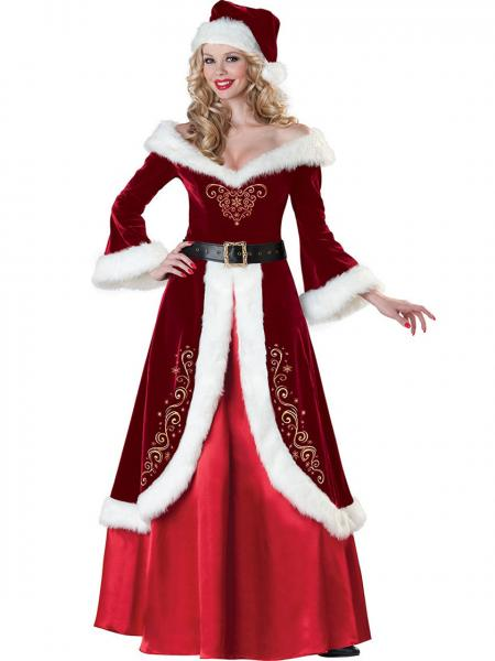 Burgundy Red Three-quarter Off Shoulder Mr and Mrs Santa Claus Christmas Costumes