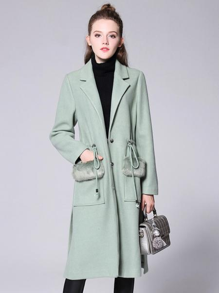 Aqua Press Studs Single Breasted Thick and Long Women Wool & Blend Walker Coat