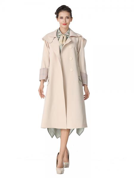 Beige Single-breasted Embroidery Layered Long Spring Trench Coat for Women