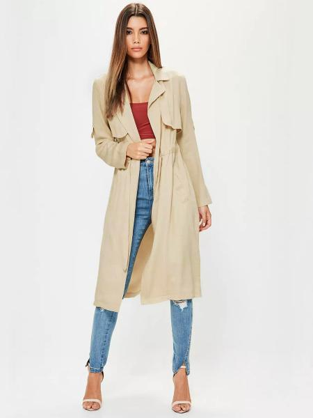 Beige Stylish Layered Drawstring Closure Spring Long Wrap Trench Coat for Women