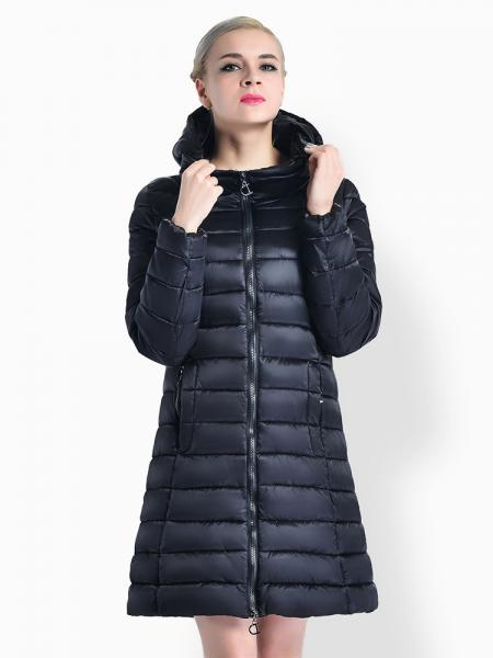 Black Cheap Two Way Zipper Long Parka Coat with Detachable Hood for Women