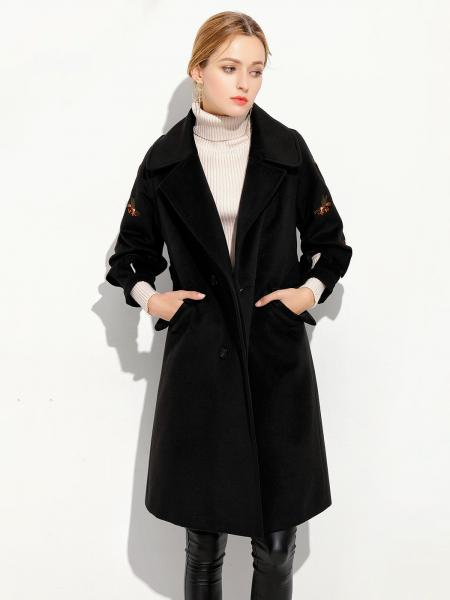 Black Double Breasted Three-quarter Sleeves Loose Fit Thick Women Long Pea Coat
