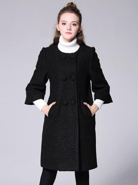 Black Loose-fit Double Breasted Three-quarters Sleeves Thick Long Peacoat for Women