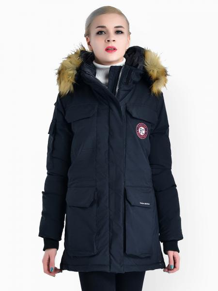 Black Double Zipper Faux Fur Hooded Thick Ladies Parka Coat for Winter