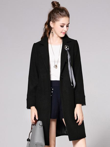 Black Lined Long Sleeves Single Button Closure Long Wool Coat for Women