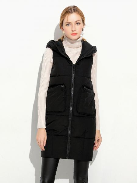 Black Loose Fit Hooded Zipper Thick Warm Puffer Long Waistcoat for Women