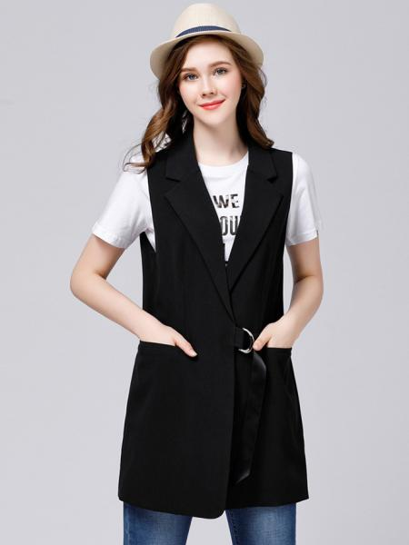 Black Open Front Relaxed Fit Sleeveless Thick Fashion Waistcoat for Women