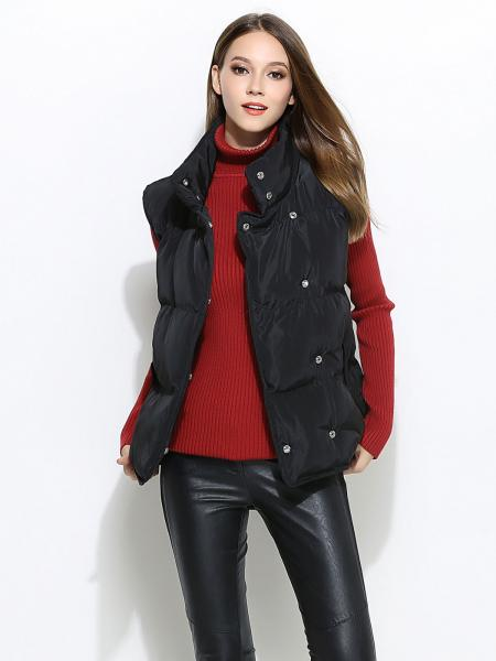 Black Press Studs Closure Loose Fit Thick Puffer Warm Women Outerwear Vests