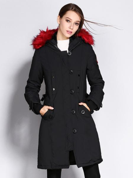 Black Red Slim Fit Long Winter Thick Parka Coat with Faux Fur Hood for Women