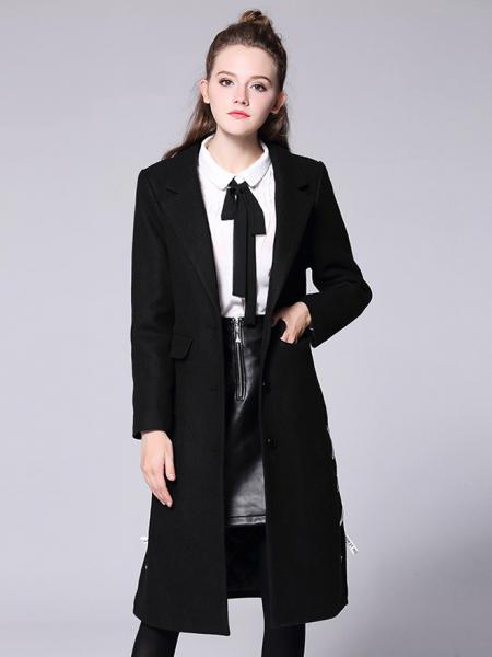 Black Single Breasted Long Sleeves Lined Thick Warm Long Wool Coat for Women