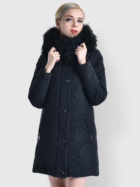 Black Slim Fit Faux Fur Hooded Zipper & Buttons Thick Ladies Winter Parkas