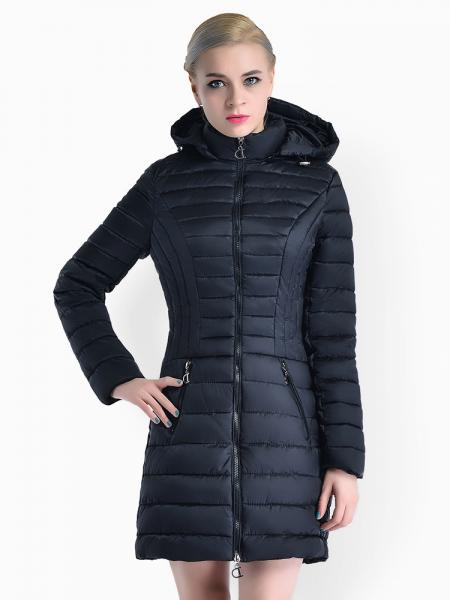 Black Slim Fit Two-way Zipper Women Parkas Outerwear with Detachable Hood