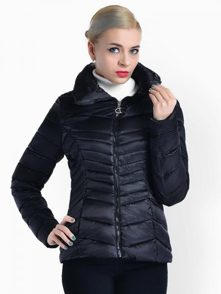 Black Stand Collar Zipper Closure Padded Petit Slim Lightweight Parka Women