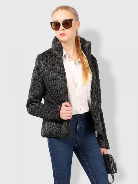 Black Stylish Zipper Long Sleeves Pleated Design Short Parka Jacket for Women