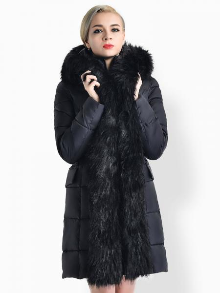 5886d1e212fc ... Black Two-way Zipper Long Deluxe Thick Faux Fur Hooded Women Down Parka  Coat ...