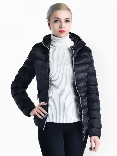 Black Two Way Zipper Long Sleeves Hooded Womens Slim Quilted Puffer Parka