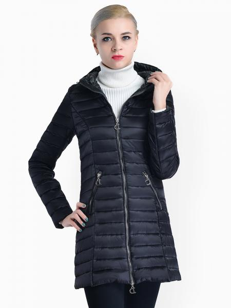 Black Two Way Zipper Long Sleeves Padded Women Warm Parka Coat with Hood