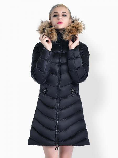 Black Two Way Zipper Thick Long Parka Coat with Raccoon Fur Hood for Women