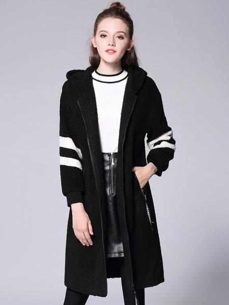 Black White Loose Fit Zipper Long Sleeves Striped Long Hooded Outerwear for Women
