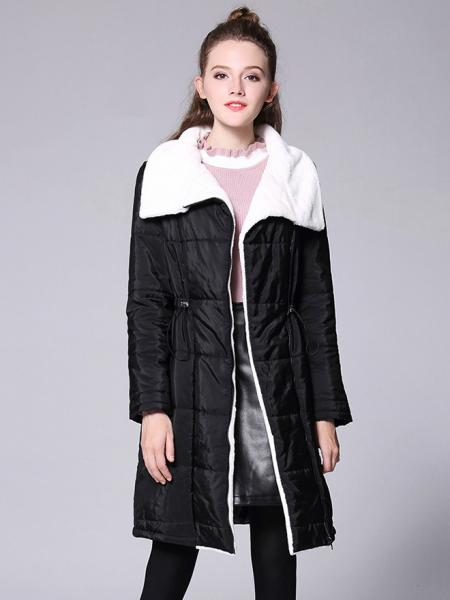 Black Zipper Long Sleeves Faux Fur Splicing Quilted Thick Long Women Parka Coat