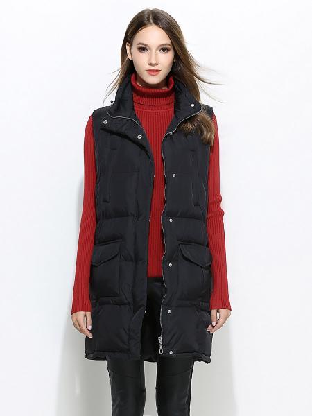 Black Zipper & Press Studs Closure Loose-fit Thick Women Puffer Waistcoat
