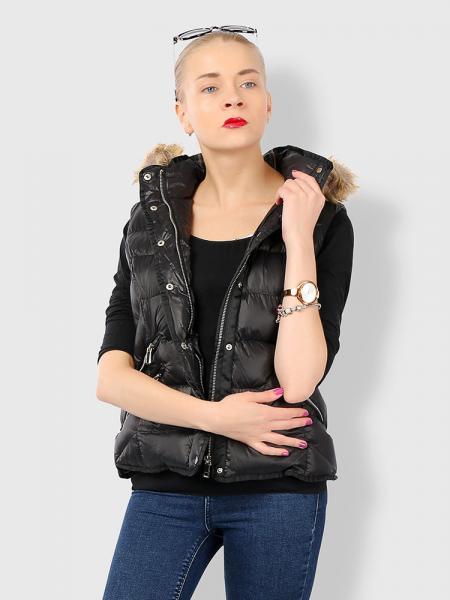 Black Zipper & Press Studs Puffer Short Padded Hooded Vest Coat for Women