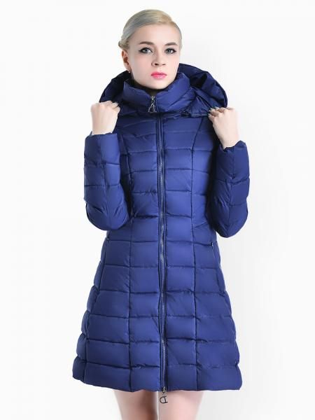 Blue A-line Two-way Zipper Detachable Hooded Padded Parka Jacket for Women