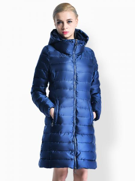 Blue Cheap Two Way Zipper Long Parka Coat with Detachable Hood for Women