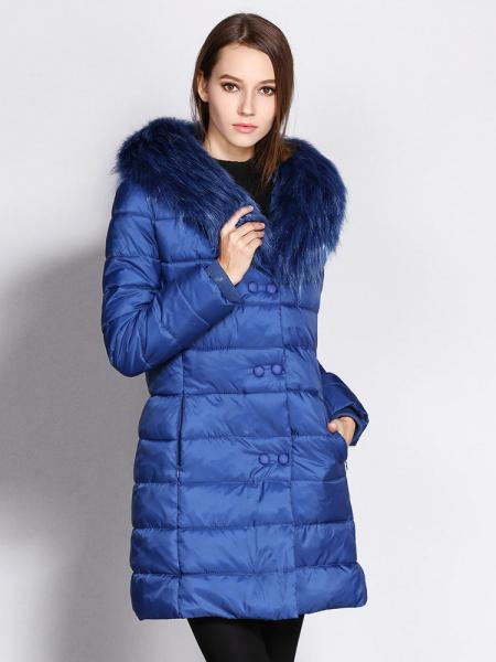Blue Double Zipper & Press Studs Faux Fur Collar Padded Womens Parka Jacket
